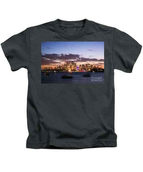 Sydney Skyline At Dusk Australia Kids T-Shirt by Matteo Colombo