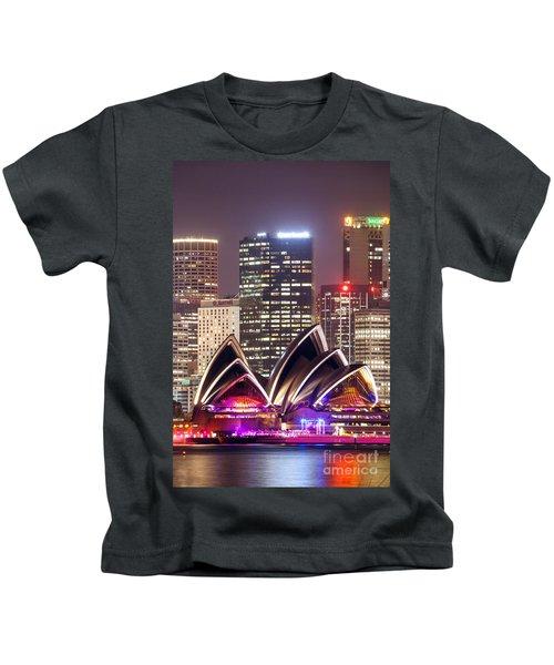 Sydney Skyline At Night With Opera House - Australia Kids T-Shirt by Matteo Colombo