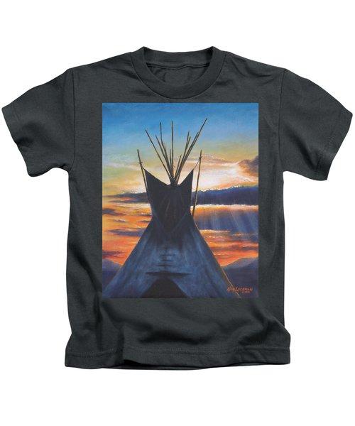 Teepee At Sunset Part 1 Kids T-Shirt