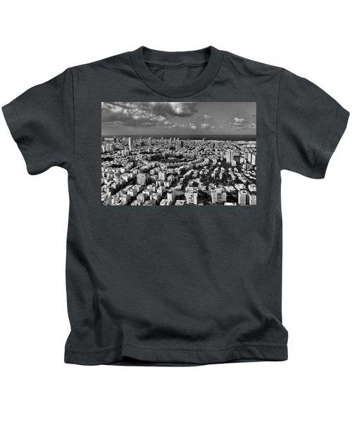 Tel Aviv Center Black And White Kids T-Shirt