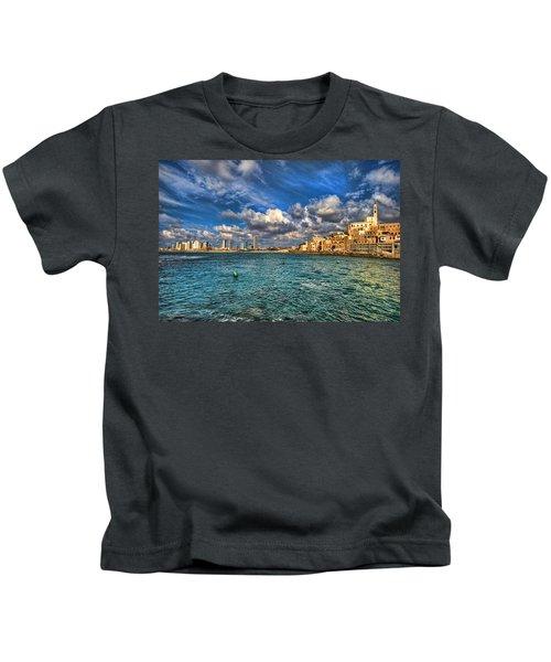 Tel Aviv Jaffa Shoreline Kids T-Shirt