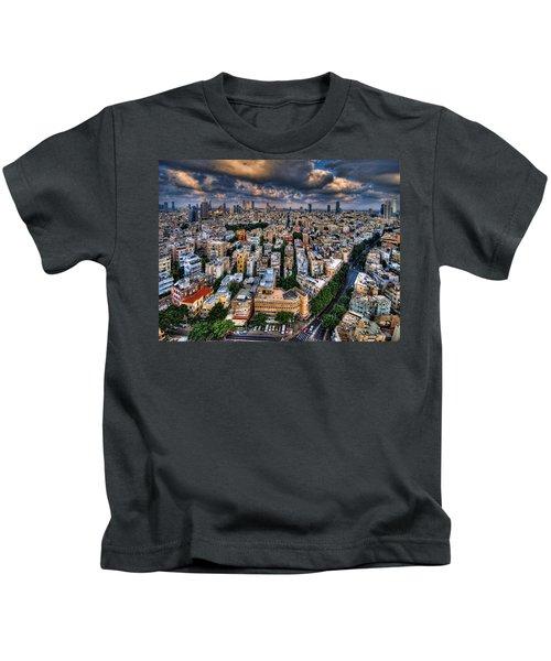 Tel Aviv Lookout Kids T-Shirt by Ron Shoshani