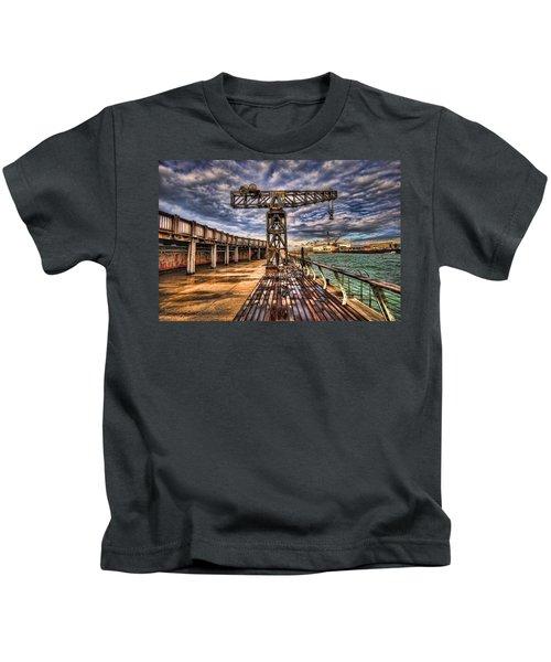 Tel Aviv Port At Winter Time Kids T-Shirt
