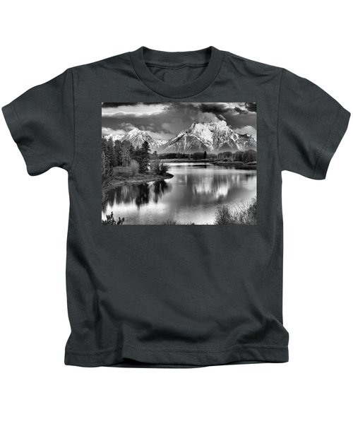 Tetons In Black And White Kids T-Shirt