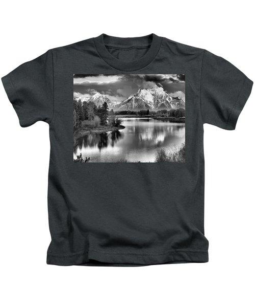 Tetons In Black And White Kids T-Shirt