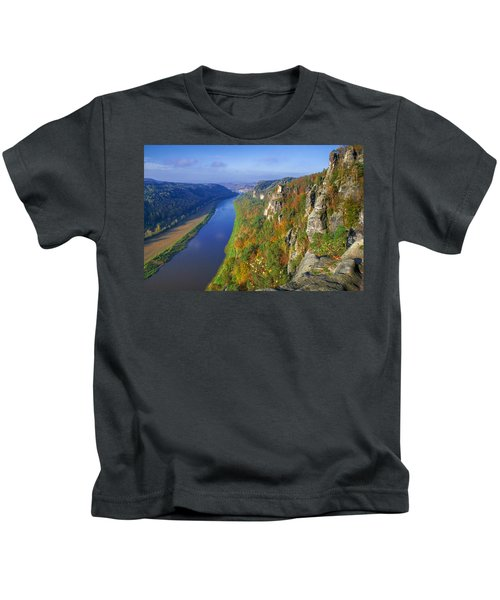 The Elbe Sandstone Mountains Along The Elbe River Kids T-Shirt