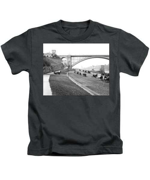 The Harlem River Speedway Kids T-Shirt by Detroit Publishing Company