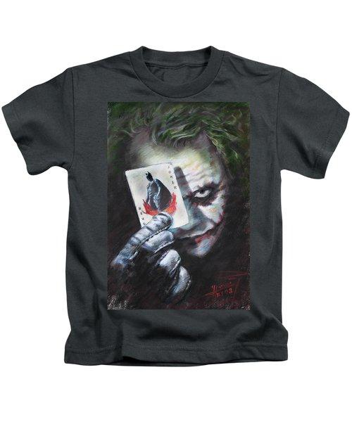 The Joker Heath Ledger  Kids T-Shirt by Viola El