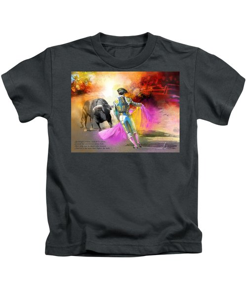 The Man Who Fights The Bull Kids T-Shirt