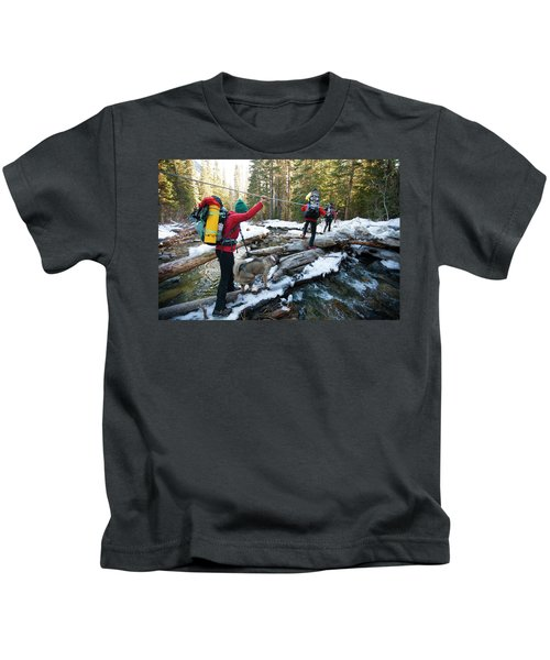 Three Backpackers And A Dog Cross Kids T-Shirt