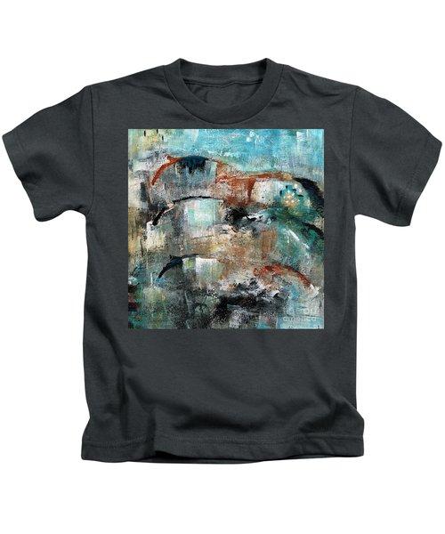 Three Running Horses Kids T-Shirt