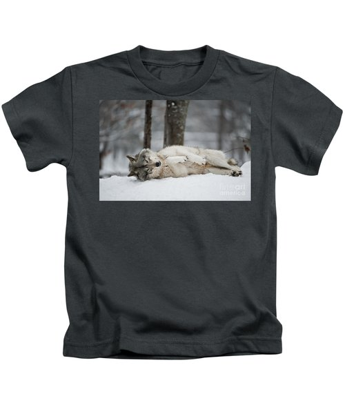 Timber Wolf In Winter Kids T-Shirt