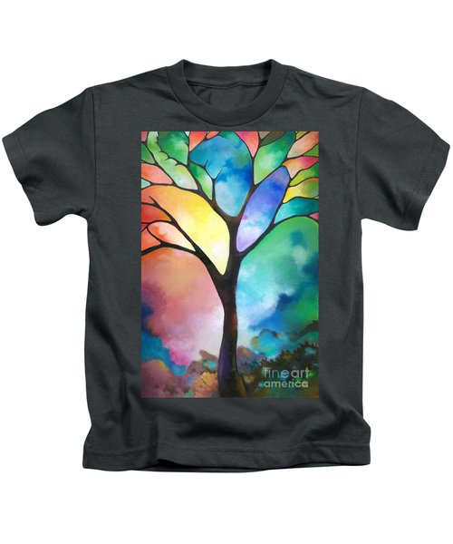 Original Art Abstract Art Acrylic Painting Tree Of Light By Sally Trace Fine Art Kids T-Shirt