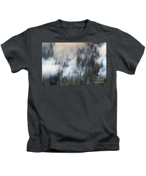 Beaver Fire Trees Swimming In Smoke Kids T-Shirt