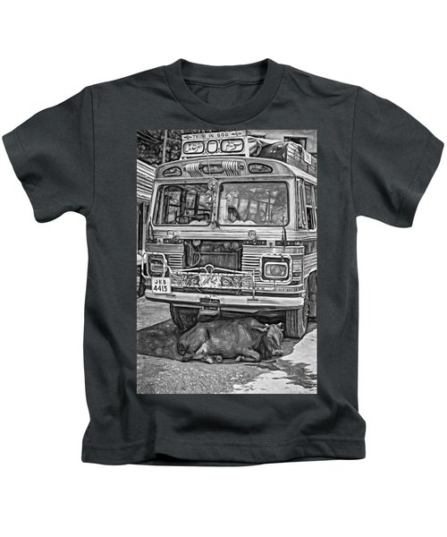 Trust In God Paint Bw Kids T-Shirt