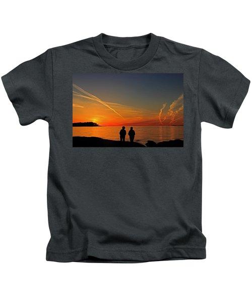 Two Friends Enjoying A Sunset Kids T-Shirt