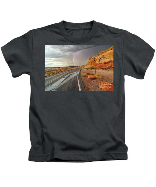 Uncertainty - Lightning Striking During A Storm In The Valley Of Fire State Park In Nevada. Kids T-Shirt