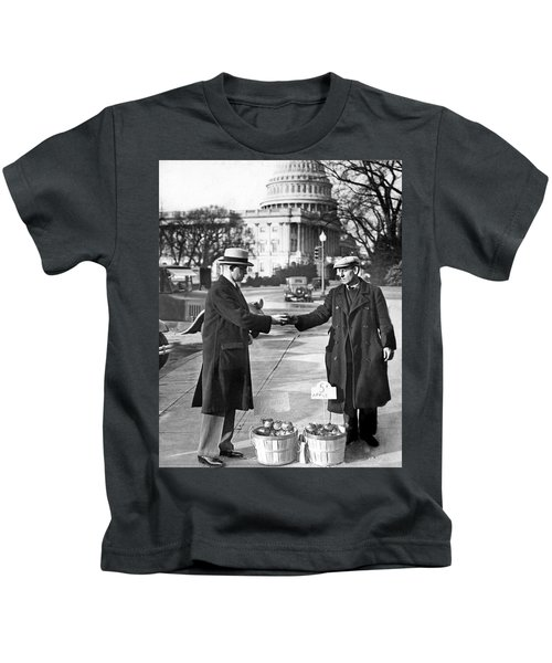 Unemployed Man Sells Apples Kids T-Shirt by Underwood Archives