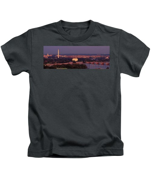 Usa, Washington Dc, Aerial, Night Kids T-Shirt by Panoramic Images