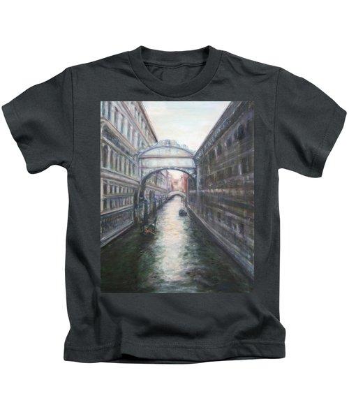 Venice Bridge Of Sighs - Original Oil Painting Kids T-Shirt