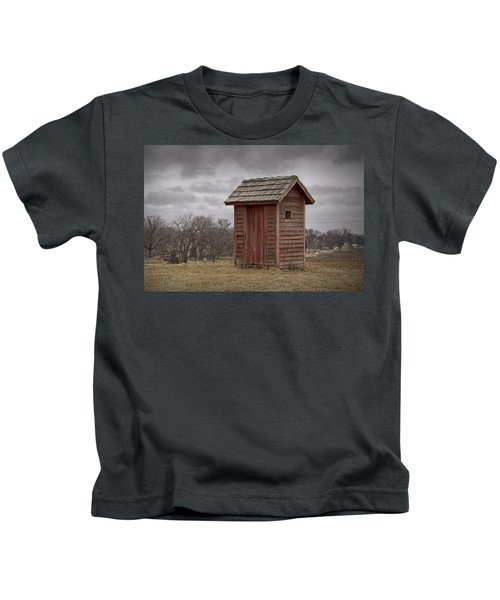 Vintage Outhouse Behind A Historical Country School In Southwest Michigan Kids T-Shirt