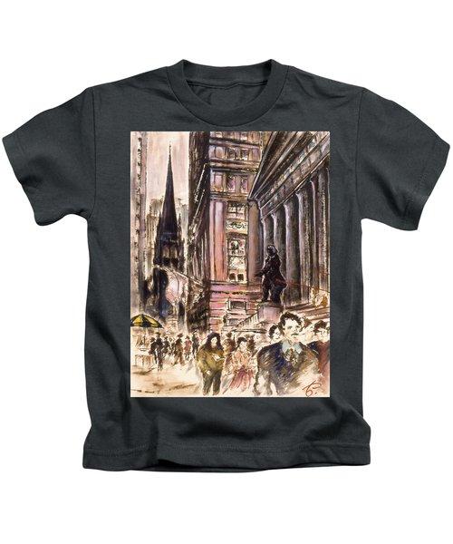 New York Wall Street - Fine Art Painting Kids T-Shirt