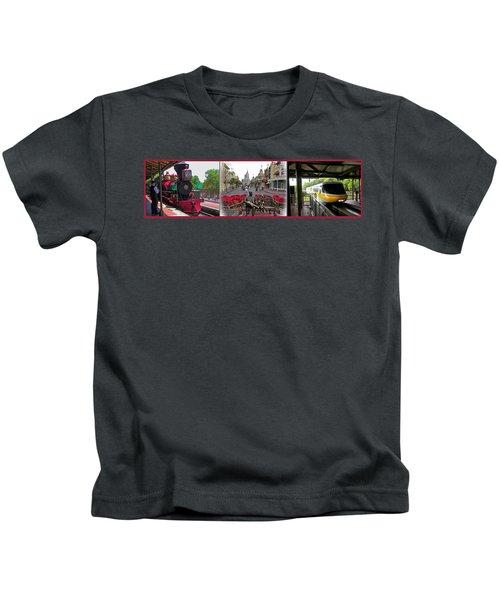 Walt Disney World Transportation 3 Panel Composite 02 Kids T-Shirt