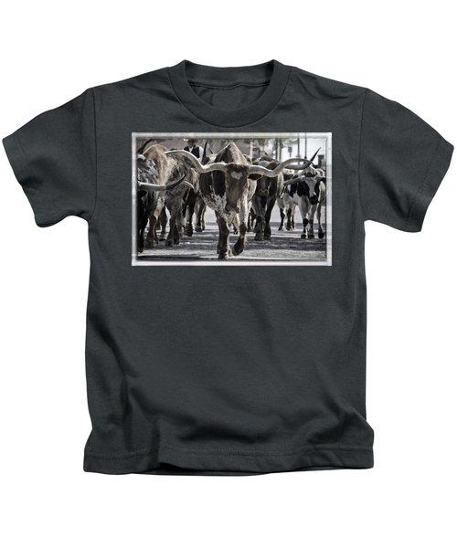 Watercolor Longhorns Kids T-Shirt