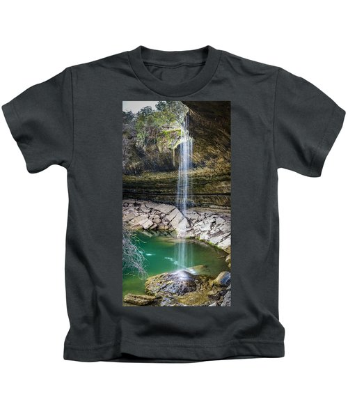 Waterfall At Hamilton Pool Kids T-Shirt