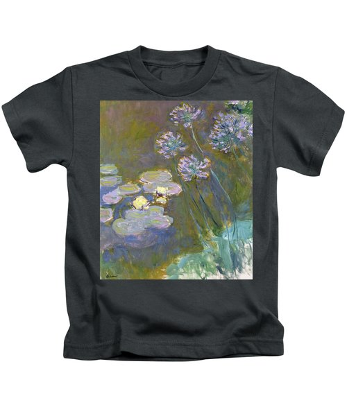 Waterlilies And Agapanthus Kids T-Shirt
