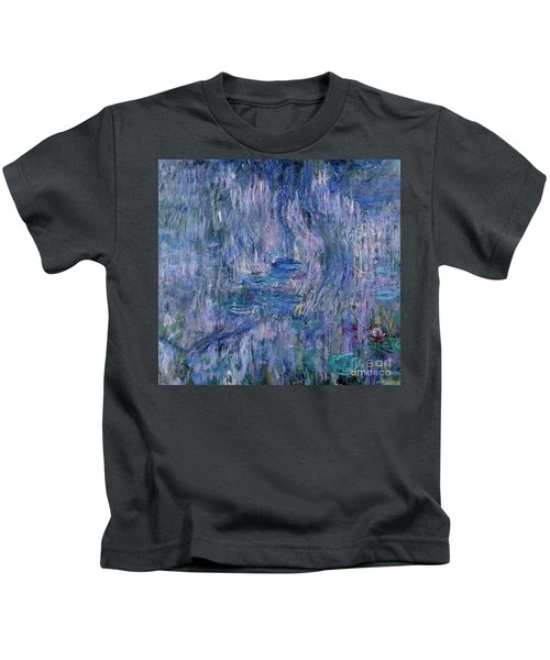 Waterlilies And Reflections Of A Willow Tree Kids T-Shirt