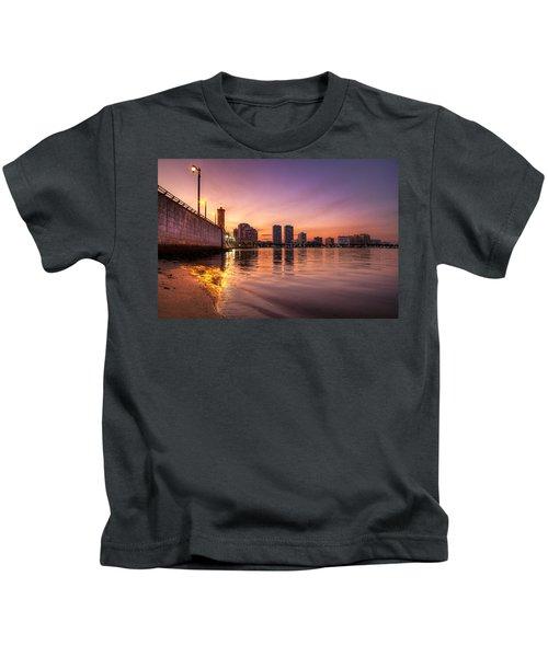 West Palm Beach Skyline At Dusk Kids T-Shirt