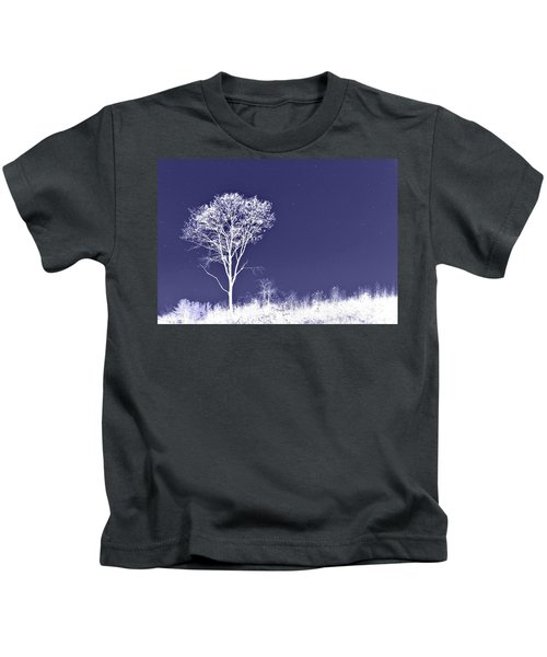 White Tree - Blue Sky - Silver Stars Kids T-Shirt