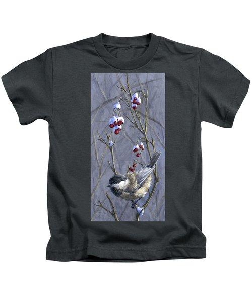 Winter Harvest 2 Chickadee Painting Kids T-Shirt
