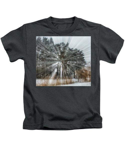 Winter Light In A Forest Kids T-Shirt