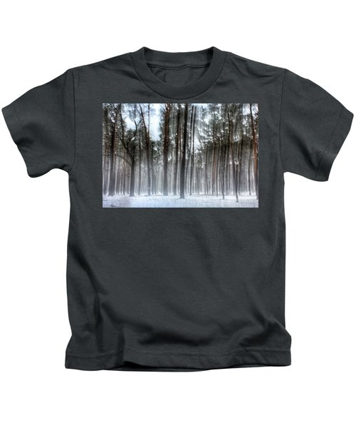 Winter Light In A Forest With Dancing Trees Kids T-Shirt