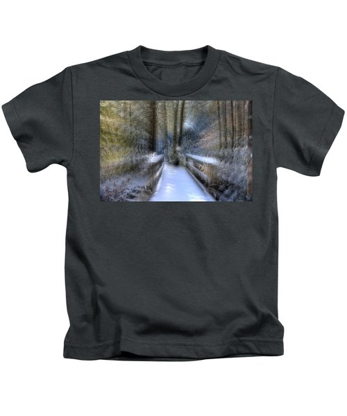 Winter Light On Bridge Kids T-Shirt