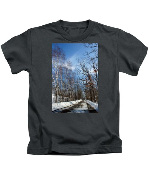 Wisconsin Winter Road Kids T-Shirt