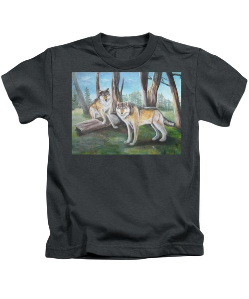 Wolves In The Forest Kids T-Shirt