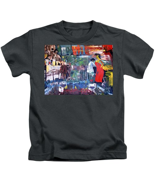 Woman In Red Kids T-Shirt