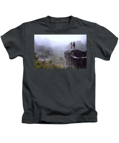 Women Overlooking Bright Foggy Valley Kids T-Shirt