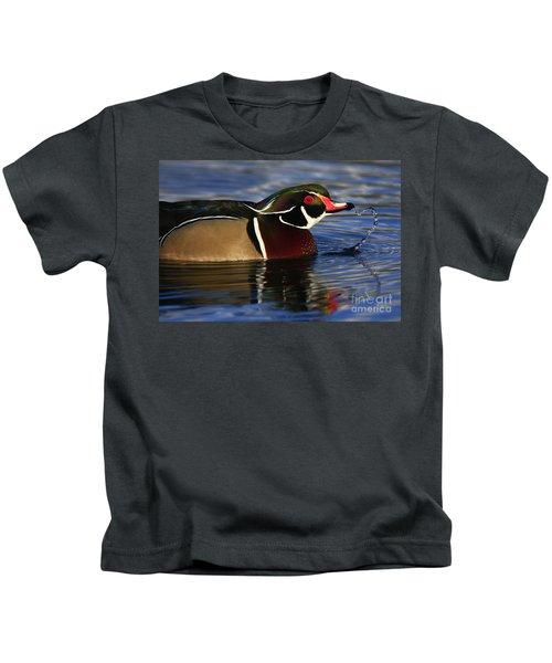 Wood Duck Waterdrops Kids T-Shirt