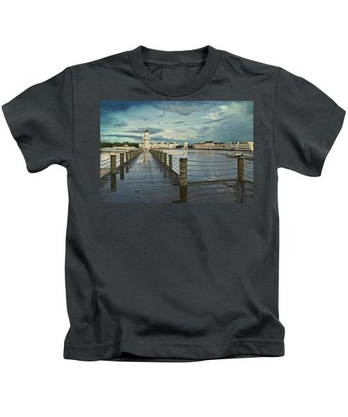 Yacht And Beach Lighthouse Disney World Textured Sky Kids T-Shirt