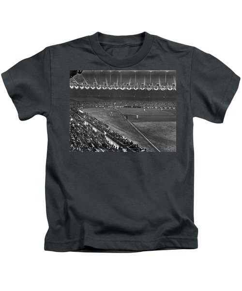 Yankee Stadium Game Kids T-Shirt by Underwood Archives