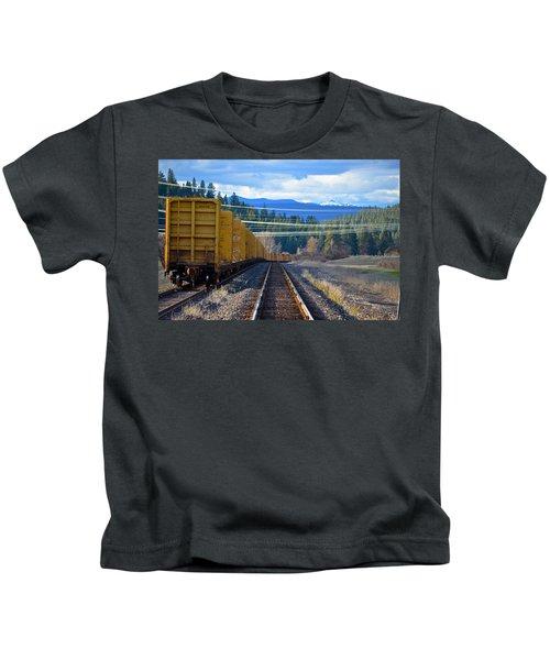 Yellow Train To The Mountains Kids T-Shirt