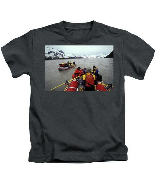 Young Adults Rafting On Alsek River Kids T-Shirt