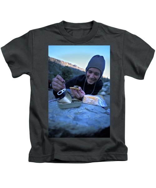 Young Man Backpacking In Desolation Kids T-Shirt