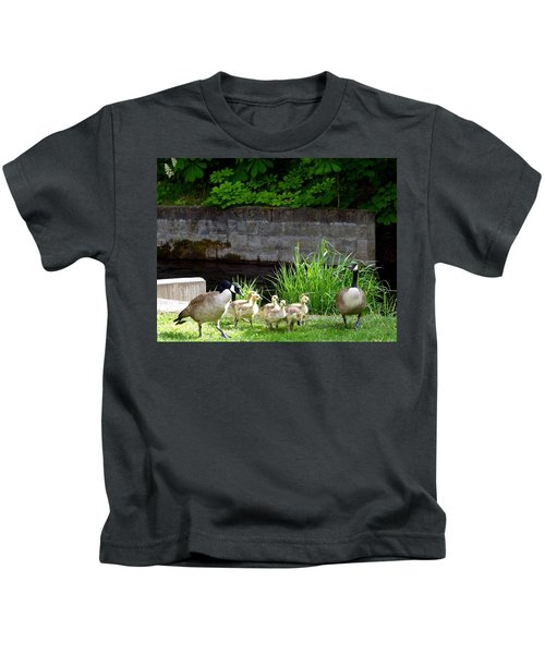 Canada Geese With Goslings Kids T-Shirt