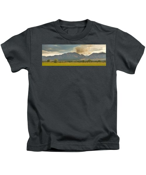 Country View Of The Flagstaff Fire Panorama Kids T-Shirt