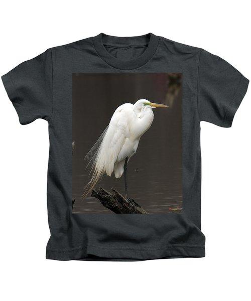 Great Egret Resting Dmsb0036 Kids T-Shirt